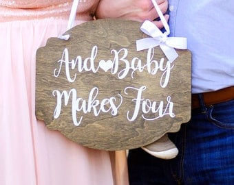 Pregnancy Announcement: And Baby Makes Four  - And Baby Make Three - Baby Photo Prop - Baby Announcement - Baby on the Way