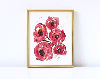 Red Flowers Print - Home Decor Art - Watercolor Painting - Floral - Office Decoration