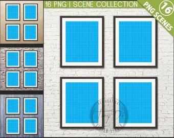 Set 8x10 White & Black Frame on Interior Wall | Styled frame mockup | 16 PNG scenes | Set of 4 Portrait Landscape Frames | Blank frame