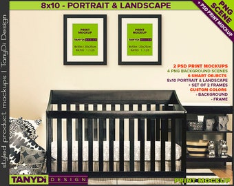 Nursery Interior N12 | Print Mockup | Set of 2 Black Wood Portrait Landscape 8x10 Frame | 4 PNG scene