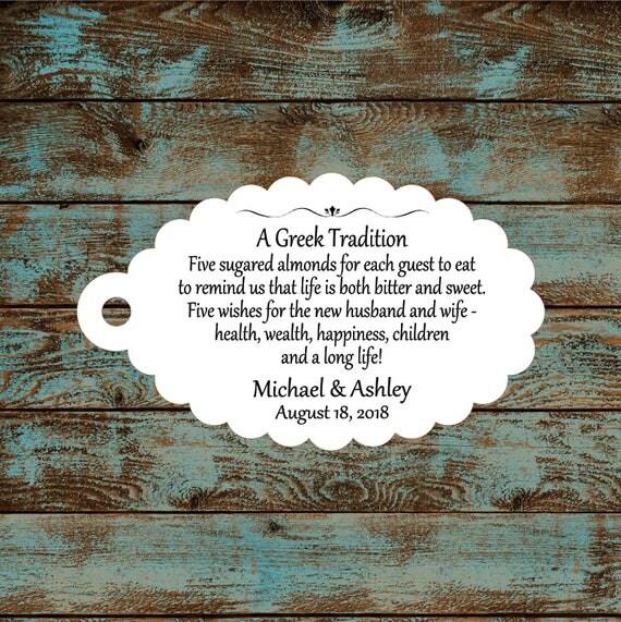 Favor Tags, Jordan Almond Favor Tags, Sugared Almond Favor Tags, Greek Wedding Favor Tags #761 - Qty: 30 Tags