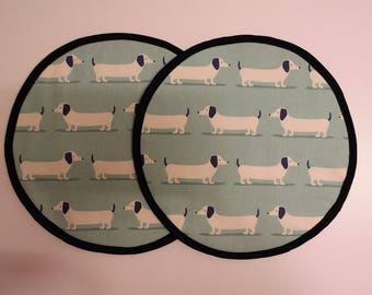 Set of 2 Aga lid covers, mats. Duck Egg Dachshund sausage dogs.