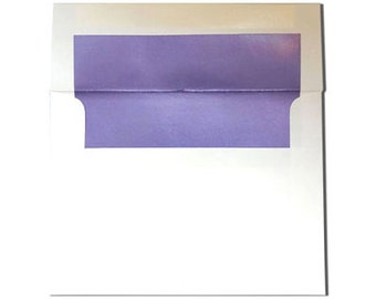 20  A2 White with Lilac Purple Pearl Lined Envelopes