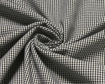 Fabric pure cotton little Vichy check black white 1.5 mm