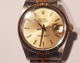 Men's Rolex Datejust Two Tone Champagne Dial