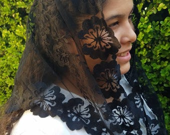 Black mantilla-Traditional Chapeil Veil -Chapel Veil Mantilla - Latin Mass Black Veil