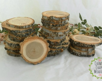 25 2.5 to 3 Inch Rustic Wood Slices ~  Wood Slices ~ Wedding Decor ~ Save the Date ~ Wedding Favors ~ Rustic Wedding ~ Tree Branch Slices