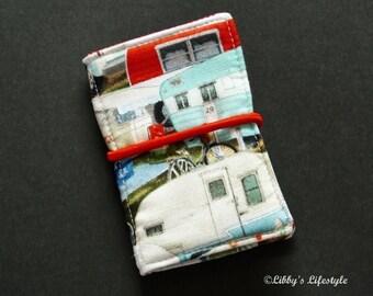 Vintage caravans credit card wallet. Handmade.