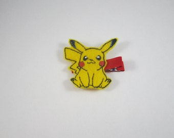 NEW Pikachu Pokemon handmade felt embroidered hair clip