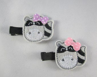 NEW raccoon embroidered felt hair clip pink purple