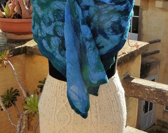 Silk chiffon and merino wool nuno felt scarf