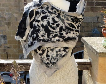 Black and natural wool Nuno felted wrap