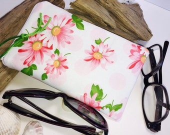 Daisy Floral Double Glasses Case, Soft Glasses Case, Zip Top Double Glasses Pouch Sunglasses Pouch, Pink Eyeglasses Zipper Case
