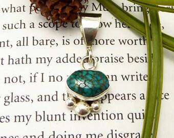 Royston Spiderweb Turquoise Pendant