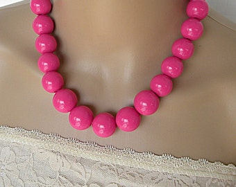 Hot pink necklaces for women, beaded necklace, statement necklace, long necklace, jewelry set, everyday necklace, simple necklace, chunky