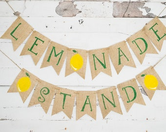 Lemonade Stand Decoration, Kid's Lemonade Stand Sign, Lemonade Banner, Lemon Party, B513