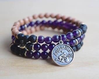 Aquarius Bracelet / Zodiac Bracelet / Astrology Bracelet / Stackable Bracelet Set / Diffuser Bracelet Stack / Amethyst Bracelet