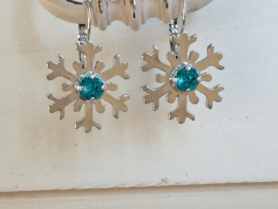 Blue Zircon Crystal Snowflake Earrings, Silver