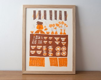 Fragile Finds, Orange A3 Screen Print.  Inspired By Traditional 1930 English Market place and Designed by Toby Rampton. History Vintage