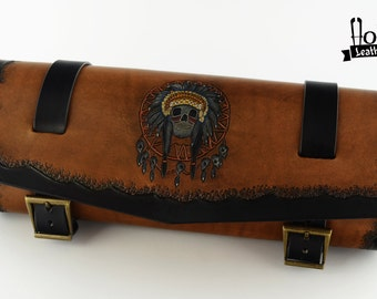 Handmade Motorcycle tool bag Indian Skull Tool Roll