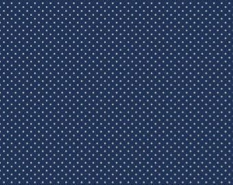1 Yard- Navy Swiss Dot by Riley Blake Designs- 670-21