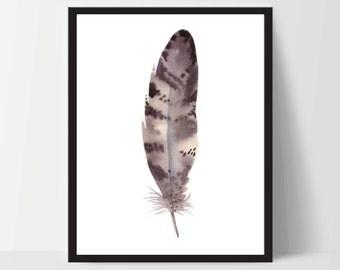 Printable Wall Art, Feather Art, Wall Print, Boho Art, Wall Prints, Feather Prints, Printable Art, Printables, Brown White, Watercolor