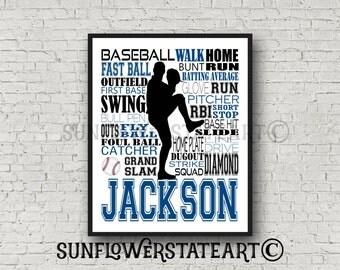 Baseball Art, Baseball, Baseball Gift Ideas, Pitcher, Catcher, Batter, Typography Personalized, Baseball Team Gift, Word Art Custom
