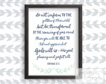 Bible Verse Printable Art | Romans 12:2-Hand Lettered Christian Scripture Art with Vines- Download and Print Instantly- Inspirational Decor