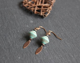 Ethnic style earrings, Pearl glass Czech turquoise patinated copper metal