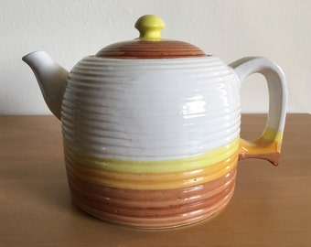 Vintage handmade Japanese ceramic lidded teapot ribbed beehive design in gorgeous cream brown gold yellow retro colors for Old Florida home!