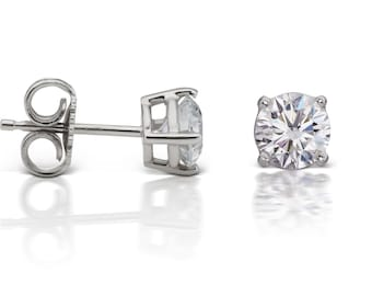 Diamond Stud Earrings in 14kt White Gold 4-Prong Basket Setting (1.20ct. tw.), Diamond Earrings, Solitaire Earrings, Round Diamond Earrings