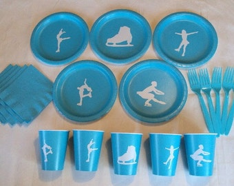 Ice Skating Tableware Set for 5 People, Girl or Boy