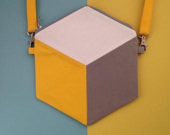 Cube / Hexagon Cross body bag, geometric design handbag, yellow and grey, handmade