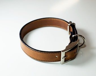 Premium Dog Collar, Two Sided Leather Dog Collar, Personalized Leather Dog Collar, Horween Leather Dog Collar, Natural Leather Dog Collar