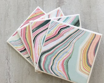 Marbled Coasters, Mod Coasters, Tile Coasters, Ceramic Coasters, Handmade Coasters, Coasters, Marbled,Set of 4 Coasters, Drinks Coasters