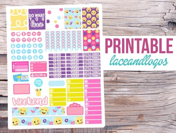 Printable Emoji Planner Stickers
