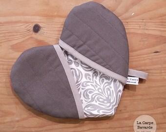 Gray - heart Potholder