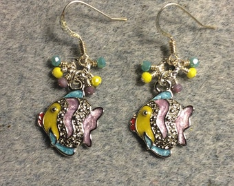 Violet, blue and yellow enamel and rhinestone fish charm earrings adorned with tiny violet, blue and yellow Chinese crystal beads.