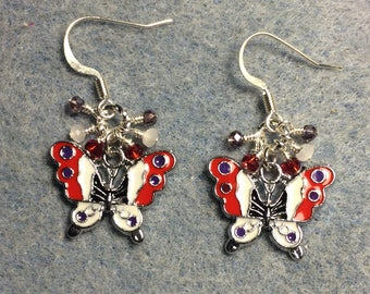 Red, purple and white enamel butterfly charm earrings adorned with tiny dangling red, purple and white Chinese crystal beads.