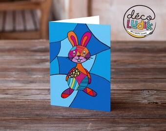 bunny Easter card, art card, birthday card, anniversary card, greeting card rabbit, children birthday, Easter greeting, bunny card, rabbit,