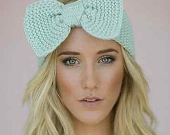 SALE/Knitted Eear Warmer/Headband with bow for adults