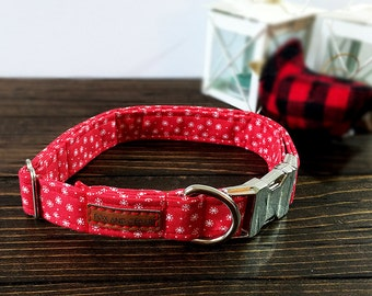 Red Snowflake Collar, Winter Collar, Red Collar, Female Dog, Male Dog, Metal Buckle, Dog Lover Gift