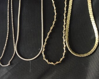 Vintage Lot of 4 Sterling Silver Chain Necklaces All Different Styles
