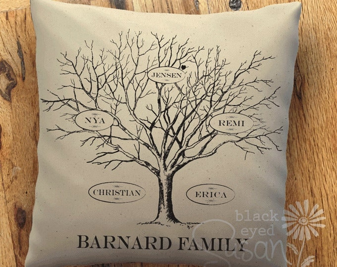 "Family Tree Pillow Cover of Natural 100% Cotton Canvas | 12""x12"", 16""x16"" or 20""x20"" 