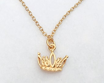 Gold Princess or Queen Crown Necklace, Gold Princess Crown Necklace, Dainty Gold Crown Necklace, Gold Children's Crown Necklace