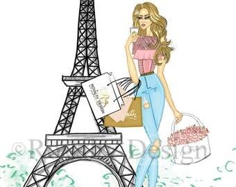Fashion Wall Art - Paris- Fashion Illustration Print Tour eiffel