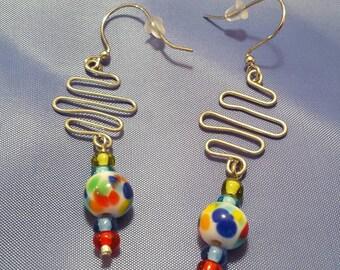 Festive & fun wire and multi-colored glass bead dangle earrings