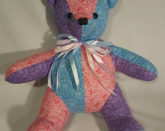 Patchwork teddy bear stuffed animal/ softie/ plush