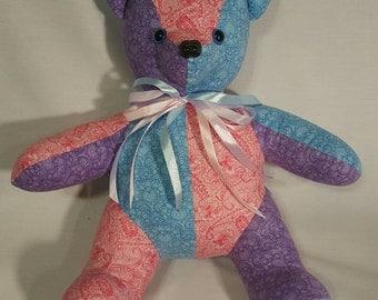 Patchwork teddy bear stuffed animal/ softie/ plush