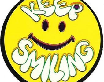 Keep Smiling Happy Face Sticker / Decal, Smiley Face, Sixties, Retro, Hippie